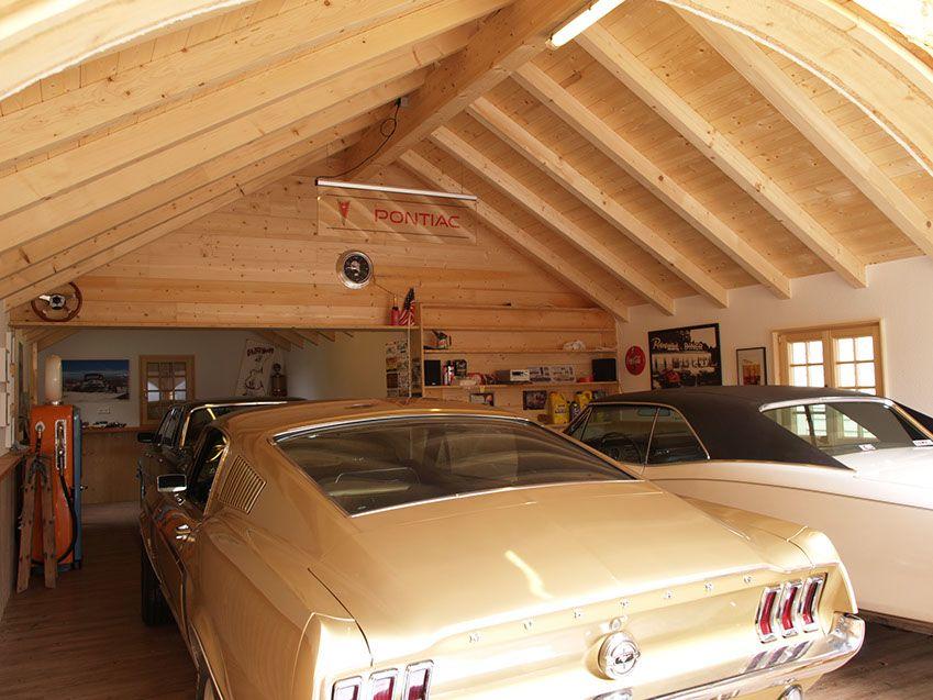 Garage aus Holz für Oldtimer und Youngtimer