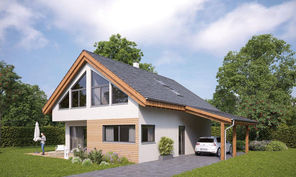 Entwurf Einfamilienhaus mit Carport gebaut mit der Holzmauer