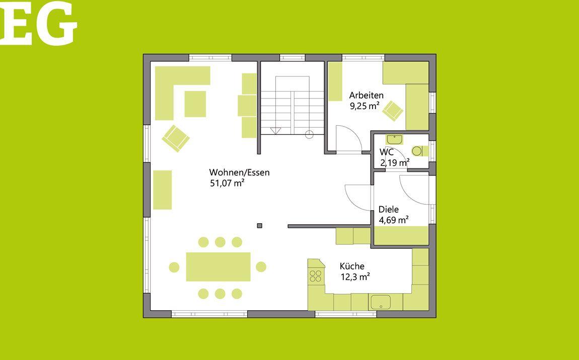 Grundriss vom Erdgeschoss eines Holz-Massivhauses.