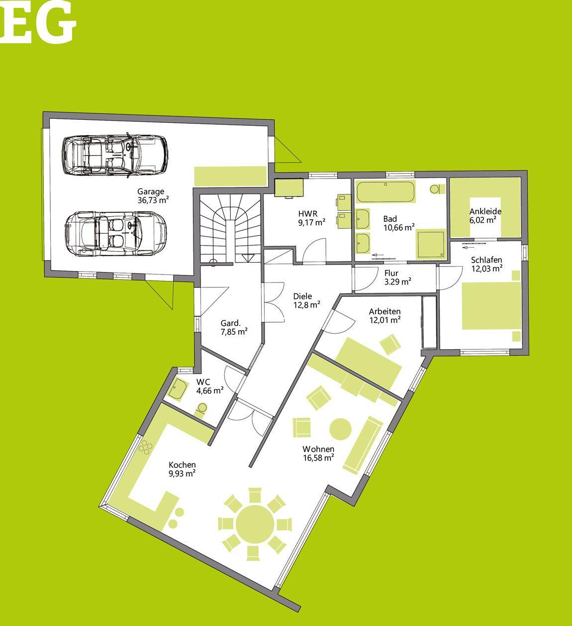 Grundriss eines ökologisch gebauten Hauses aus Holz von Rems-Murr-Holzhaus