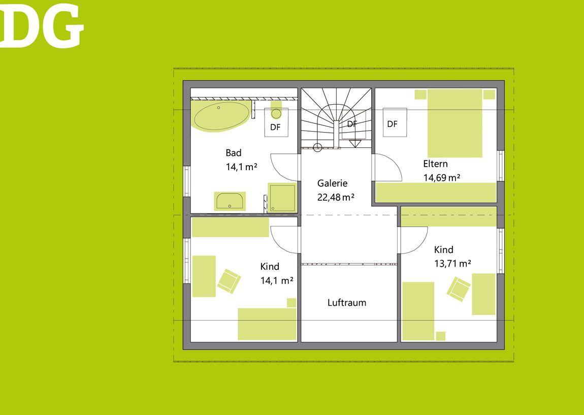 Grundriss Dachgeschoss vom Einfamilienhaus gebaut von Rems-Murr-Holzhaus