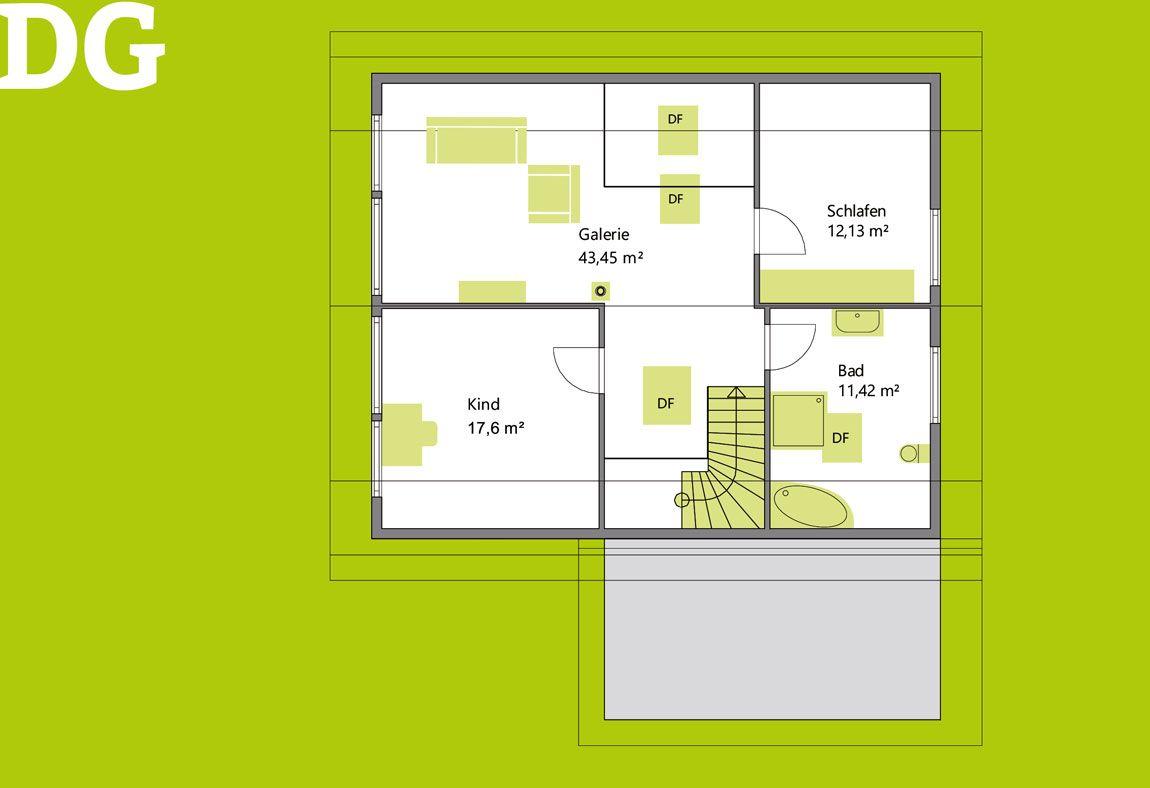 Grundriss Dachgeschoss Einfamilienhaus gebaut von Rems-Murr-Holzhaus