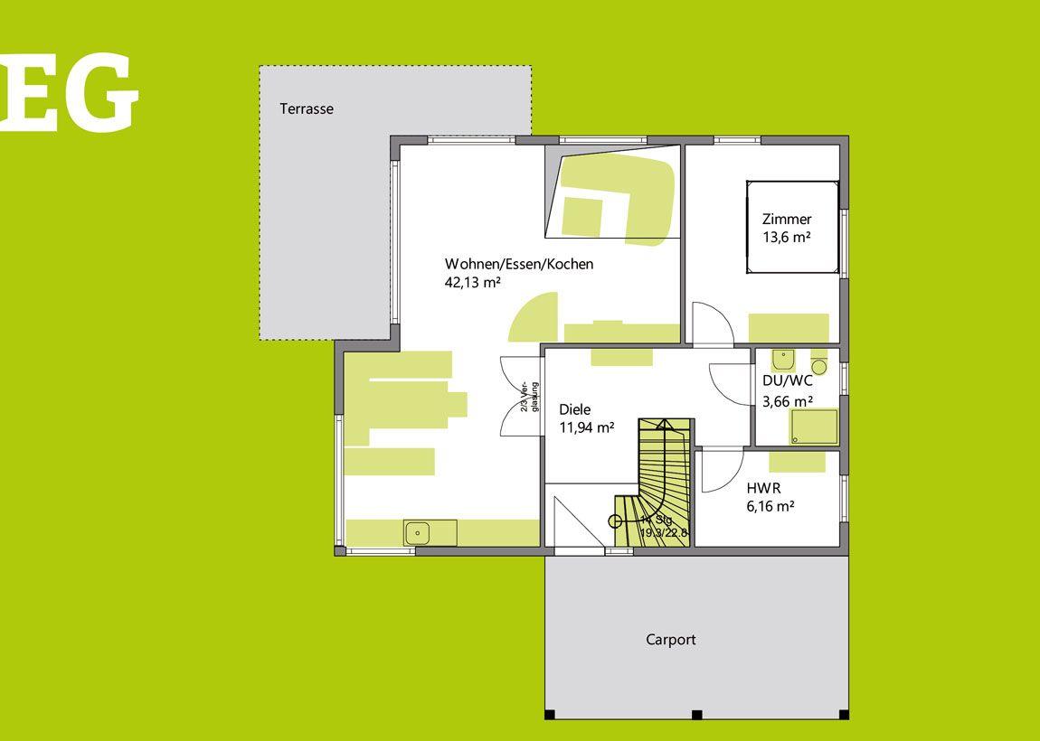 Grundriss Erdgeschoss Einfamilienhaus mit Carport gebaut mit der Holzmauer