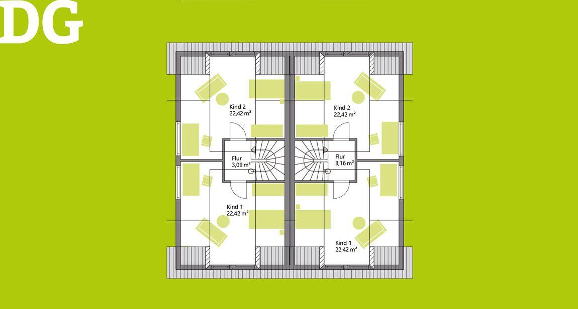 Dachgeschoss Doppelhaus massiv gebaut mit Holz