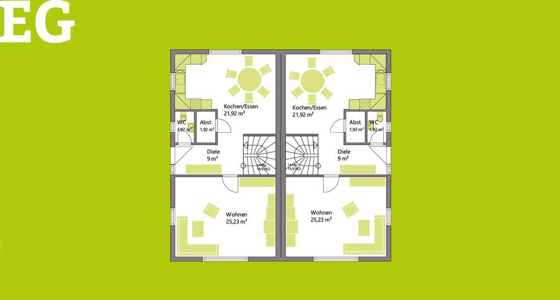 Erdgeschoss Doppelhaus gebaut mit der Holzmauer