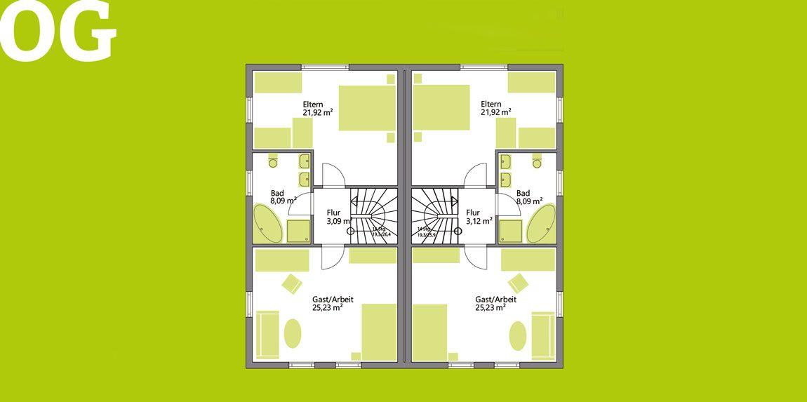 Obergeschoss Doppelhaus gebaut von Rems-Murr-Holzhaus